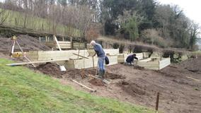 Work begins on steeply sloping vegetable garden