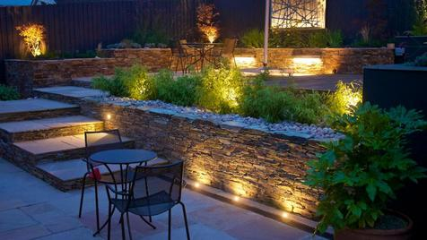 Alison Bockh Garden Design - Adjustable lighting makes it all useable and safe at night.